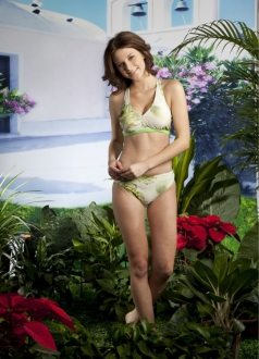 Visional Light Green Floral Skirted Swimsuit