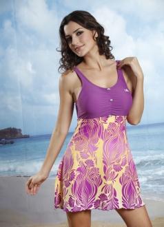 Straps Lace-up Floral Below Beach Dress