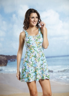 Light Turquoise Floral Print Straps Beach Dress