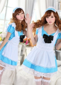 Lace Trim Bowknot Blue Maid Costume