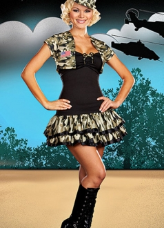 Womens Military Kiz Asker Camouflage Dress Costume