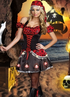 Black Skull Print Halloween Bubble Womens Pirate Costume