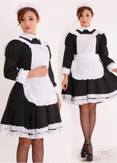 Girls Long Sleeve Halloween French Maid Costume