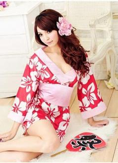 Luxury Red Sakura Kimono Halloween Japanese Costume