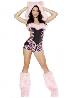 Exclusive Pink Sexy Cat Leopard Halloween Costume