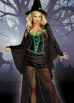 Black Trendy Ladies Halloween Scary Witch Costume