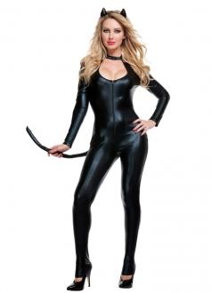 Womens Black Leather Wild Cat Halloween Costume