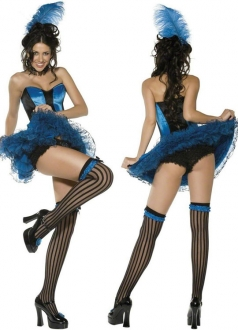 Sweetie Sexy Fantasia Can Can Girl Blue Halloween Costume