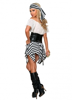 Womens Off Shoulder Pirate Halloween Costume White