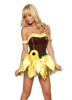 Gold Strapless Sunflower Flower Plant Halloween Costume