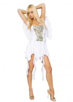 White Sexy Plicated Fairy Angel Costume