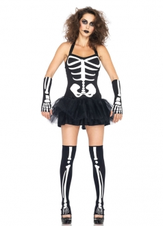 Sexy Halter Womens Halloween Skeleton Zombie Costume