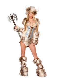 Beige Lace Up Fur Ax Halloween Costume
