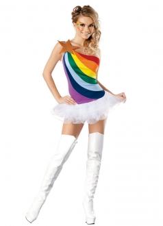 Rainbow Girl School Girl Adult Halloween Costume