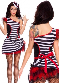 Red Trim One Shoulder Sexy Halloween Prisoner Costume