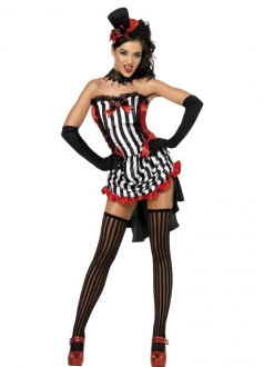 Sexy Strips Ruffle Trim Halloween Vampire Hunter Costume