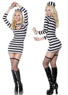 Womens Sexy Striped Prisoner Halloween Costume