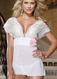 White Deep V Bud Silk Lace Sleepwear