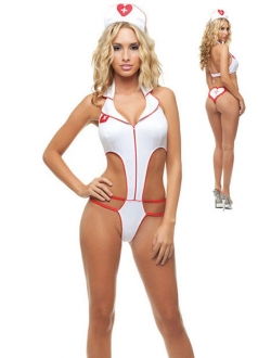 White Turndown Teddy Nurse Costume