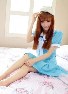 Sweet School Girl Maid Blue Dress Costume