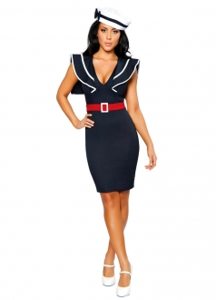 Womens Low Cut Sexy Sailor Halloween Costume