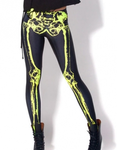 Black High-Luminance Limb Bones Womens Skeleton Print Leggings
