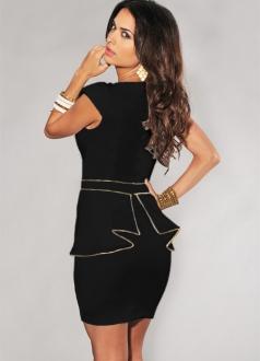 Black White Pleated Trim Top Dress