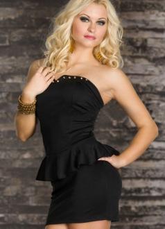Black Rivets-embellished Bust line Peplum Off Shoulder Dress