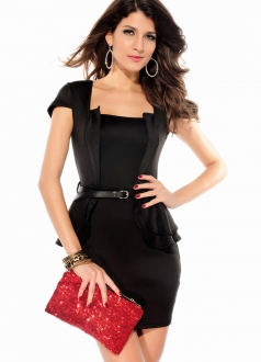 Cap-sleeves Peplum Dress with Belt