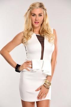 Fashion Mesh Inset White Sleeveless Peplum Dress