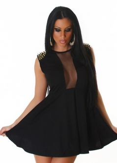 Black Mesh Rivet Shoulder See Through Dress