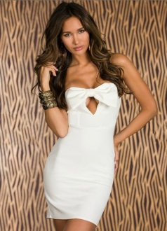 White Tie Collar Slim Dress