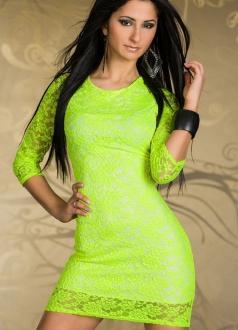 Green Short Sleeve Floral Dress