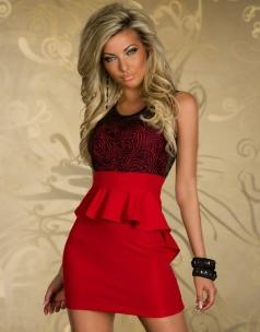 Paisley Lace Sleeveless Peplum Dress