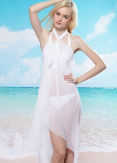 Semitransparent Tie Up Beach Dress