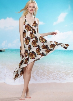 White Floral Printed Backless Deep V Beach Dress