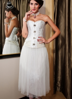 White Gothic Corsets Twinkling Button Low-Cut Skirt