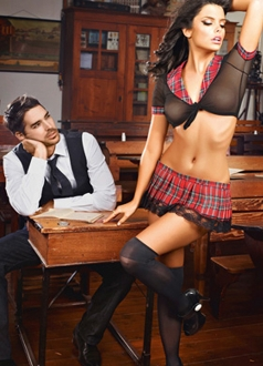Womens Mesh Plaid Sexy School Girl Uniform Costume