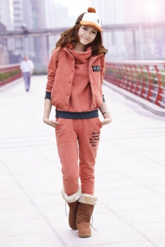 Cute Pink Flag Print Hoodie Sport Suit with Jacket