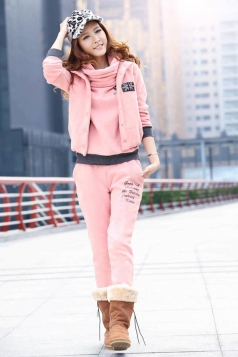 Cute Light Flag Print Hoodie Sport Suit with Vest