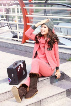 Cute Pink Hoodie Sport Suit with Jacket