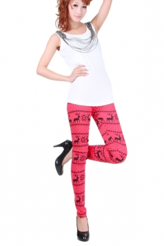 Womens Red Snow And Deer Patterned Christmas Tights Lined Leggings
