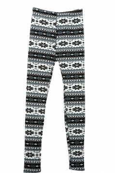 Womens Cute Grey Winter Thick Floral Lined Warm Christmas Leggings