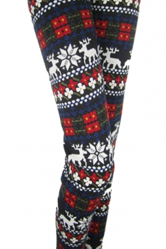 Red Floral Reindeer Patterned Fleece Lined Warm Christmas Leggings