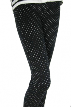 Black White Small Polka Dot Print Fleece Lined Warm Cotton Leggings