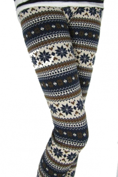 Coffee Striped Winter Print Fair Isle Warm Lined Christmas Tights