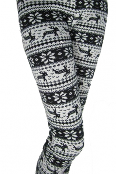 Black And White Winter Print Reindeer Warm Cotton Christmas Tights