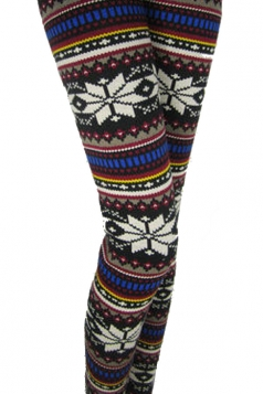 Blue White Big Winter Print Fleece Lined Warm Christmas Leggings