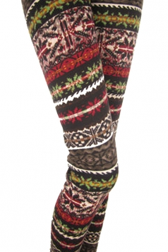 Dark Red Snowflake Striped Christmas Leggings