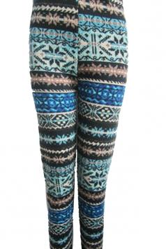 Blue Snowflake Pattern Striped Christmas Leggings